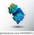 Vector Geometric, Polygon with molecule structure. 44096651