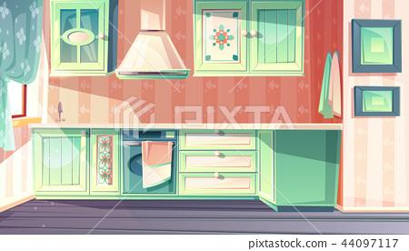 Retro Kitchen Interior Vector Provence Background Stock