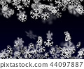 Snowfall background. Falling transparent snow with big snowflakes 44097887