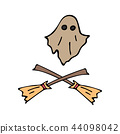 Happy halloween color vector icon set flying ghost, witch broom. Trick or treat. Cute doodle, spooky 44098042