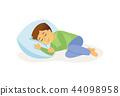 Sleeping boy - cartoon people character isolated illustration 44098958