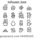 Halloween icon set in thin line style 44099265