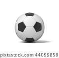 3d rendering of a single black and white leather ball for playing football or soccer. 44099859