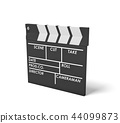 3d rendering of a single black clapperboard with empty fields for movie name, staff and takes 44099873
