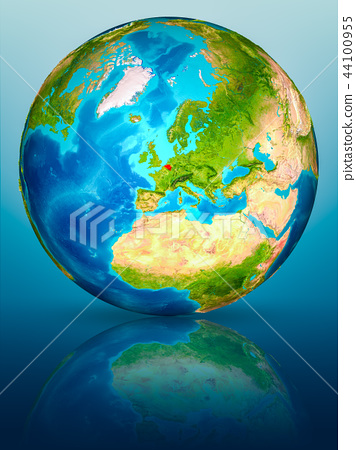 Belgium on Earth on reflective surface 44100955