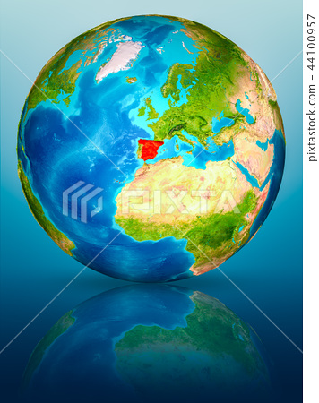 Spain on Earth on reflective surface 44100957