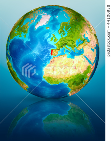 Portugal on Earth on reflective surface 44100958