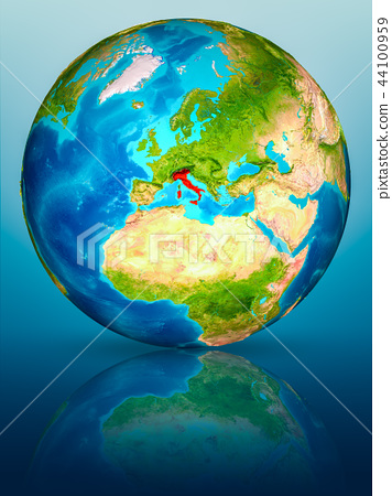 Italy on Earth on reflective surface 44100959