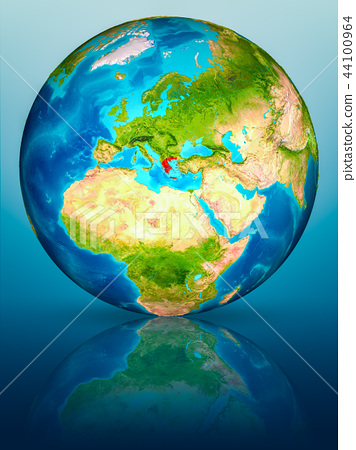 Greece on Earth on reflective surface 44100964