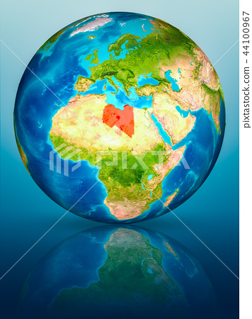 Libya on Earth on reflective surface 44100967