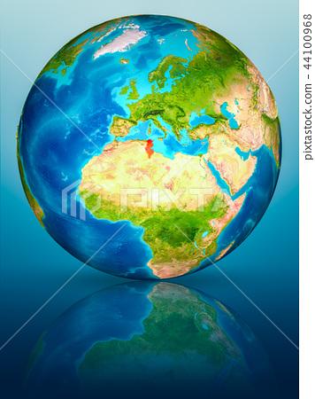 Tunisia on Earth on reflective surface 44100968