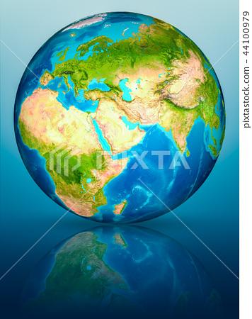 Kuwait on Earth on reflective surface 44100979