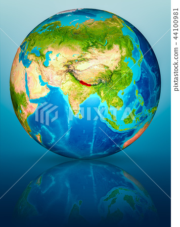 Nepal on Earth on reflective surface 44100981