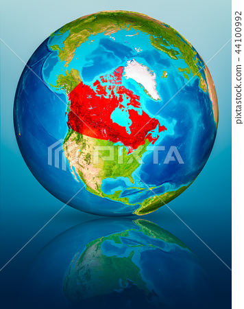 Canada on Earth on reflective surface 44100992