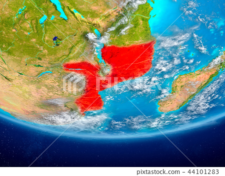 Mozambique on globe from space 44101283