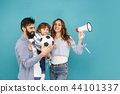 happy father and son playing together with soccer ball on white 44101337