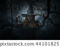 Scary halloween witch standing over dead tree 44101825
