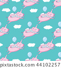 Seamless pattern background. Cute pig as pegasus and unicorn. 44102257