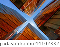 Golden building with blue sky. Windows glass of modern office sk 44102332