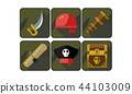 Set of pirate icons. Sword, red bandana, spyglass, scroll, captain s hat and chest with treasure 44103009