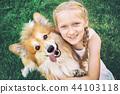 girl and dog 44103118