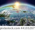 Jamaica from space in sunrise 44103267