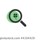 Magnifying glass looking for a clover icon 44104429