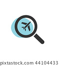 Magnifying glass looking for a flight icon 44104433