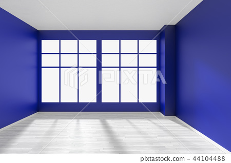 Empty blue room with window and white floor 44104488