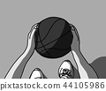Basketball hands feet and ball top view grayscale 44105986