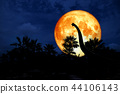 blood moon back silhouette dinosaur ancient park 44106143