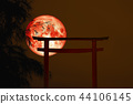 blood moon back silhouette torii Japanese stand 44106145