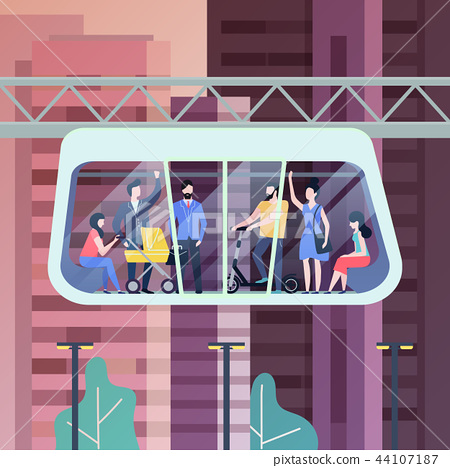 People at futuristic monorail carriage or cabin 44107187