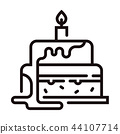 Birthday cake Line illustration 44107714