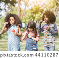 Group of Diverse Kids cute friends having bubble 44110287