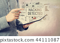 Hacking detected with man holding a tablet 44111087