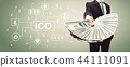 Cryptocurrency ICO theme with business man with cash 44111091