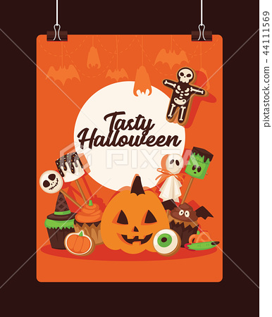Halloween vector collection fear creepy traditional sign. Vector illustration for party invitation 44111569