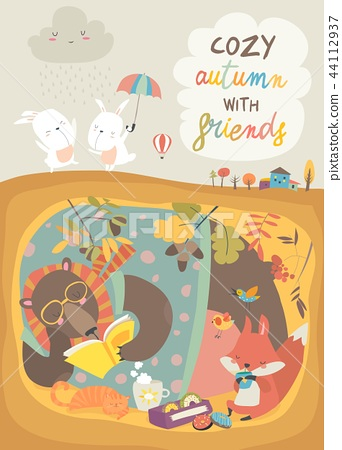 Cute animals reading book in den. Hello autumn 44112937