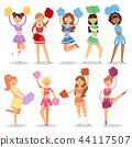 Cartoon cheerleaders girls sport fan dancing cheerleading woman team uniform characters vector 44117507