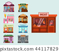 Vector flat design restaurant shops facade storefront market building architecture showcase window 44117829