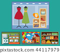 Vector flat design restaurant shops facade storefront market building architecture showcase window 44117979