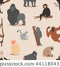 Cartoon monkey character animal wild vector illustration seamless pattern background 44118043