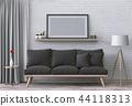 mock up poster frame in interior room , 3D render 44118313