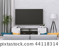3D rendering of interior living room with Smart TV 44118314