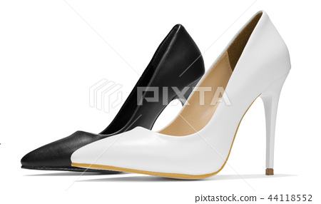 Pointed female shoes with high heels isolated on a 44118552
