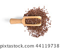 Flax seeds heap on white background 44119738