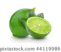 fresh lime with leaf on white background 44119986