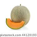 cantaloupe melon slices isolated 44120193