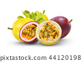 passion fruit with leaf on white background 44120198